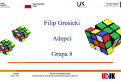 Strona tyułowa referatu autora Filip Grosicki – Algorytm jako zabawa – kostka Rubika