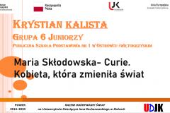 Strona tyułowa referatu autora Krystian Kalista  – Maria Curie Skłodowska – kobieta, która zmieniła świat
