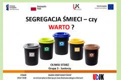 Strona tyułowa referatu autora Oliwia Sitarz – Segregacja śmieci – czy warto?
