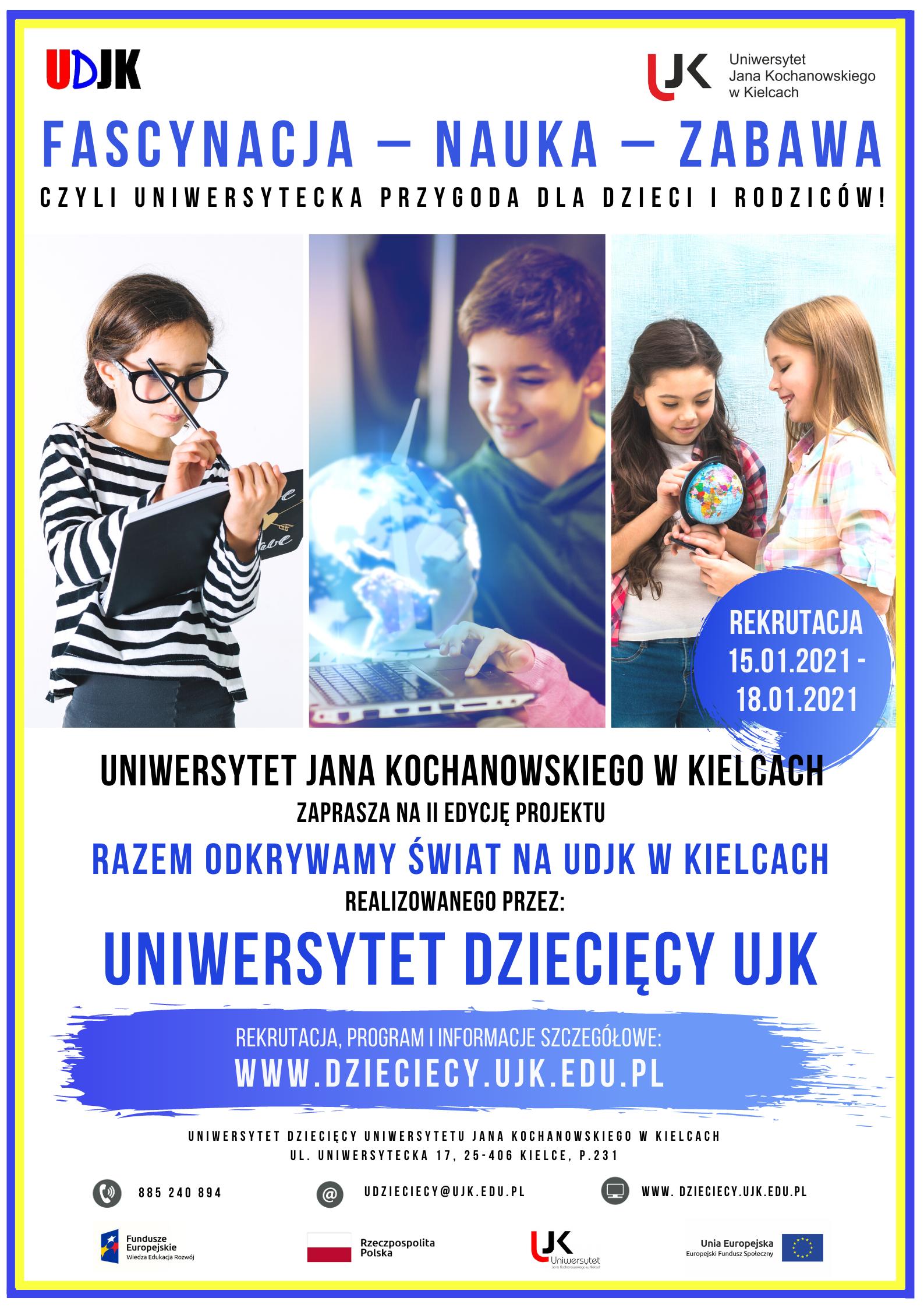 Plakat zapraszający do uczestnictwa w edycji Uniwersytetu Dziecięcego
